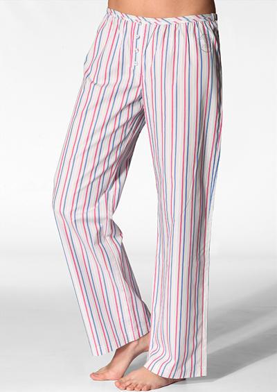 4319d24096 Damen Pyjama Hose Lindsay Baumwolle blau-rot gestreift empfohlen von Deinen  Schwestern