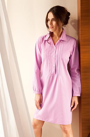 93078db46d9bed Novila Damen Nachthemd Bea Baumwolle, weiß-blau kariert empfohlen ...