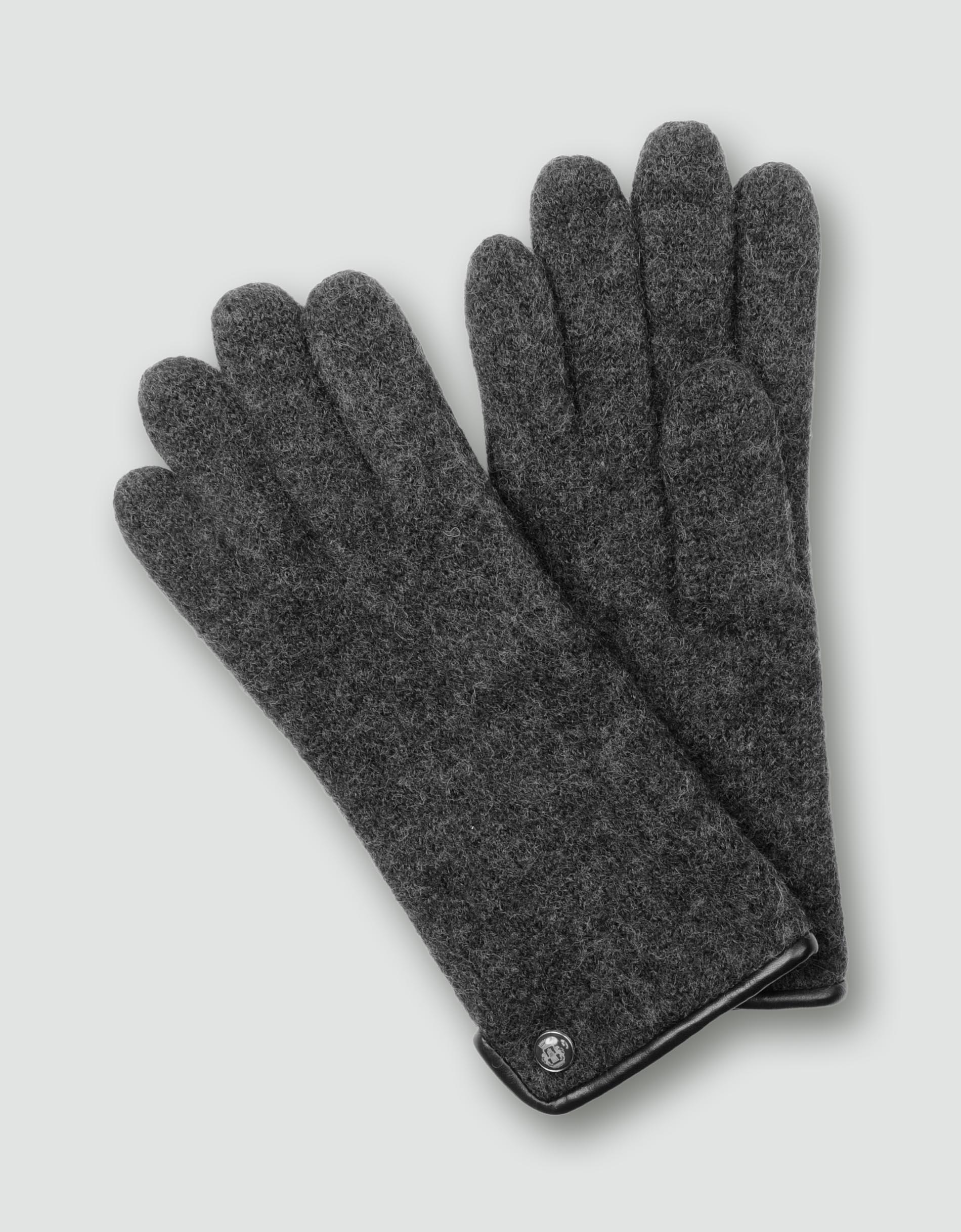 roeckl damen handschuhe walkhandschuh anthrazit empfohlen. Black Bedroom Furniture Sets. Home Design Ideas