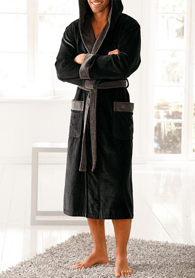 bugatti bademantel vincent in schwarz. Black Bedroom Furniture Sets. Home Design Ideas