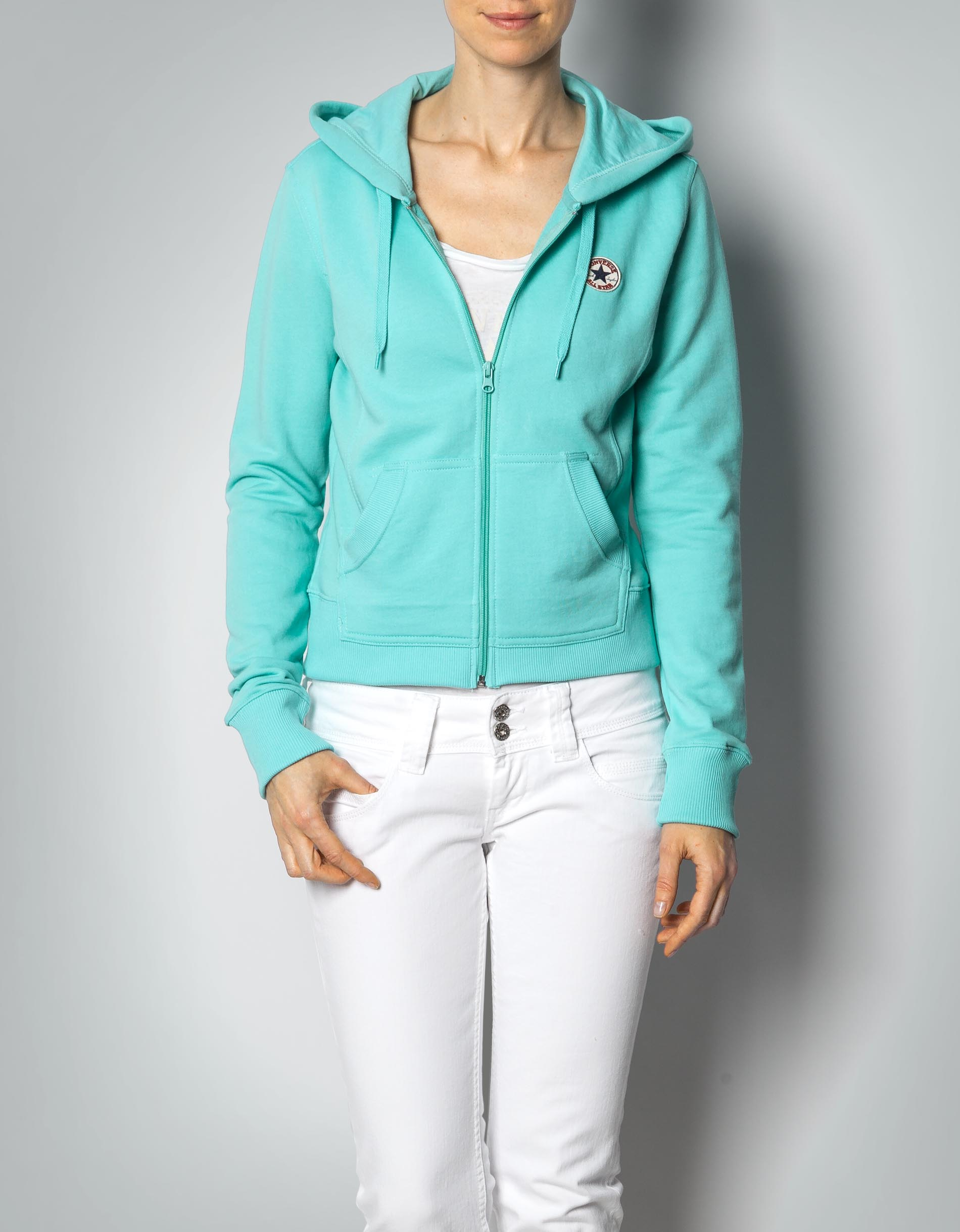 converse damen sweatjacke aqua sky mit kapuze empfohlen. Black Bedroom Furniture Sets. Home Design Ideas
