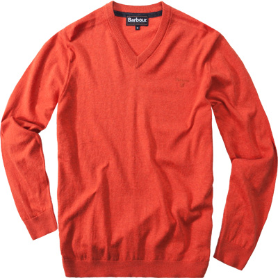 Barbour V-Neck Cotton Cashmere flame MKN0436OR91