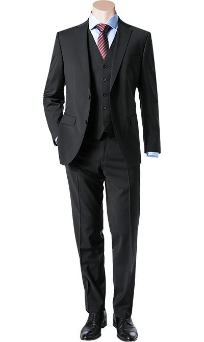anzug regular fit schurwolle schwarz von carl gross bei. Black Bedroom Furniture Sets. Home Design Ideas