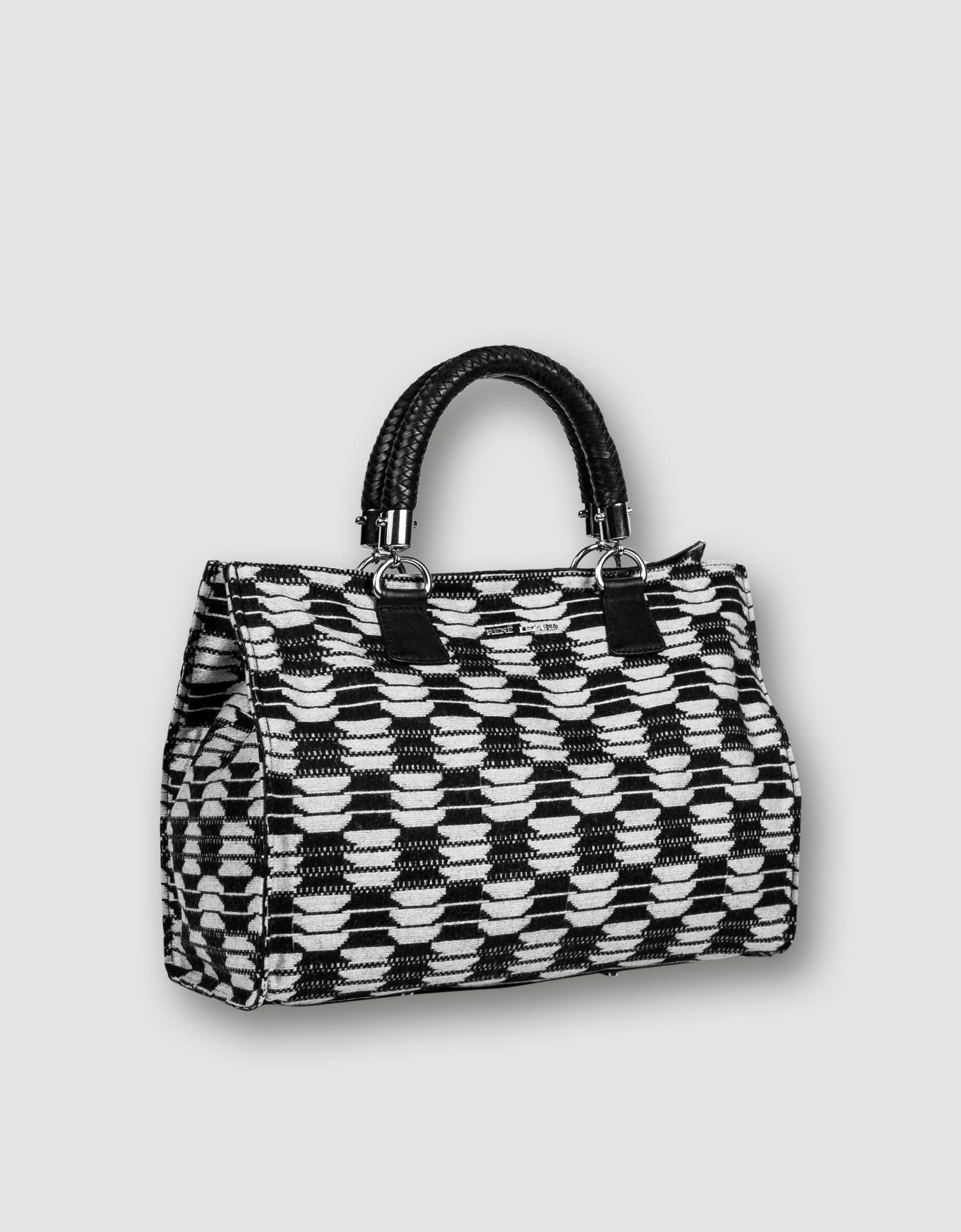 e95efb50c2e47 RENÉ LEZARD Damen Tasche schwarz-weiß Hand mit raffinierter Oberfläche  empfohlen von Deinen Schwestern