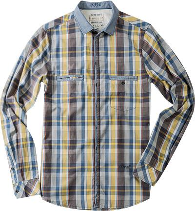 CAMPUS Hemd jeansblau-gelb