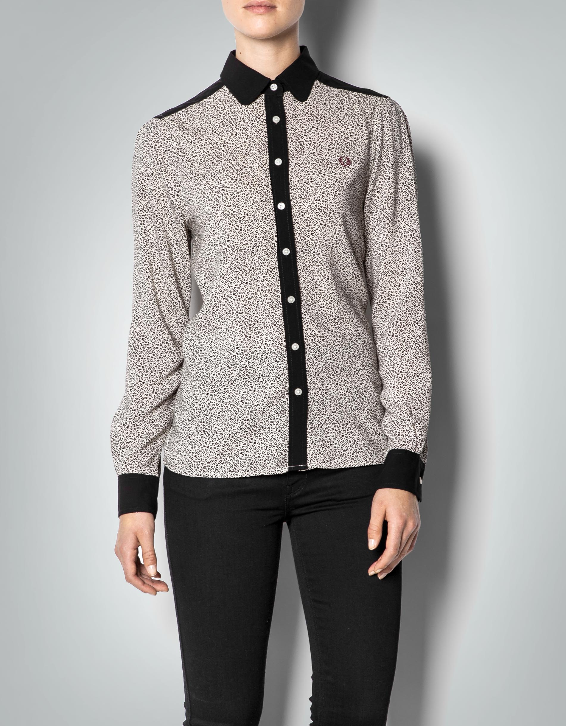 fred perry damen bluse schwarz wei mit aninmal print empfohlen von deinen schwestern. Black Bedroom Furniture Sets. Home Design Ideas