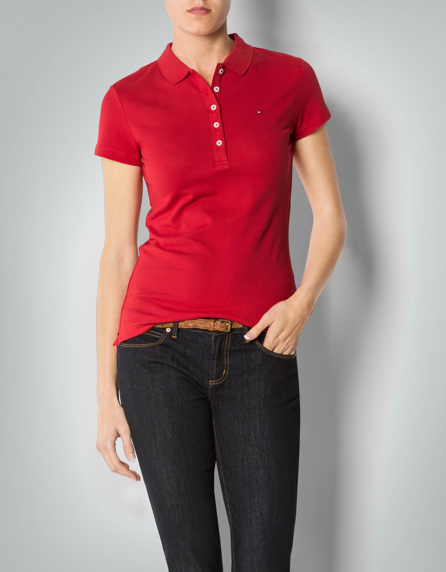 tommy hilfiger damen polo shirt mit kontrastdetails an der. Black Bedroom Furniture Sets. Home Design Ideas