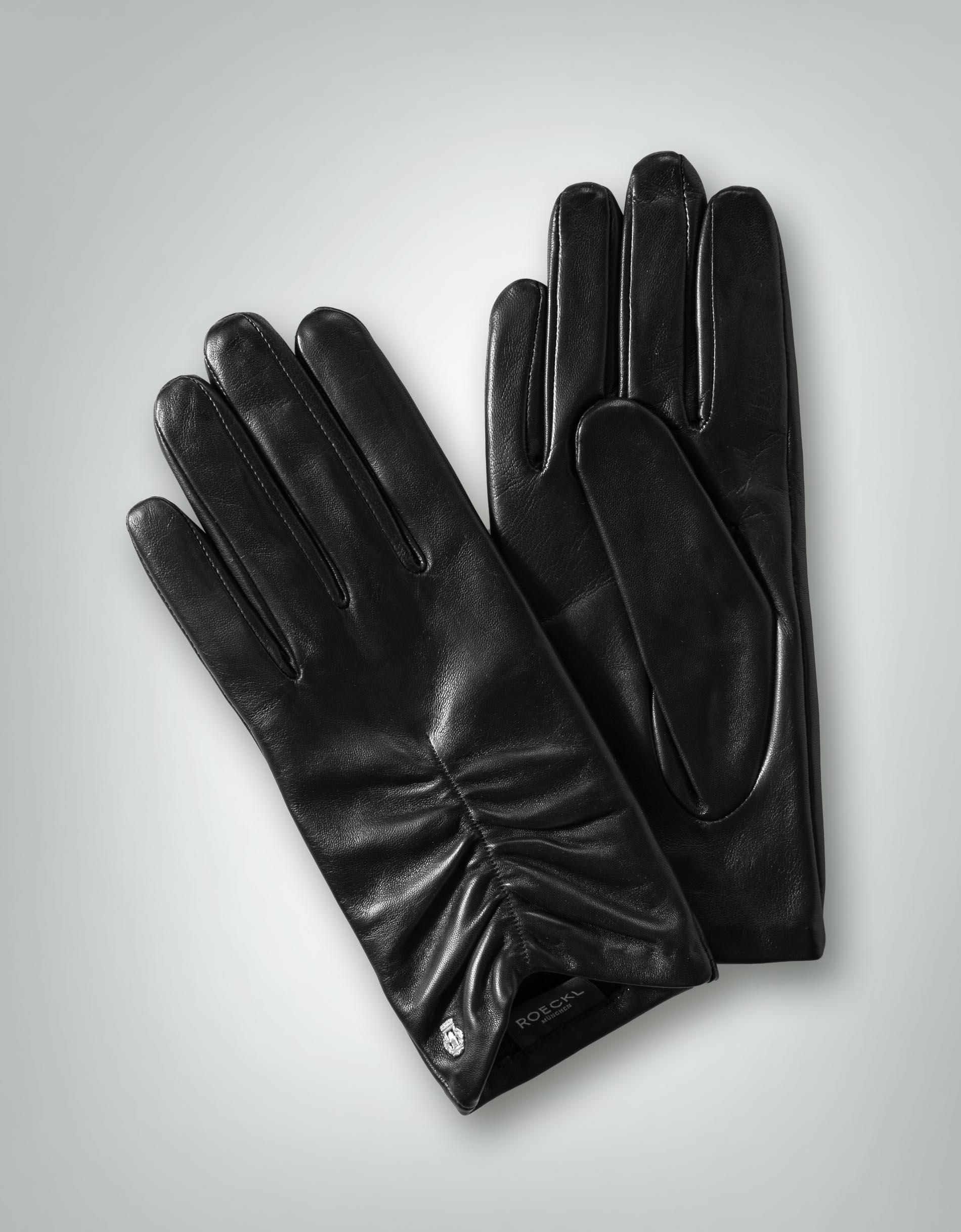 roeckl damen handschuhe lederhandschuh mit raffung vorne. Black Bedroom Furniture Sets. Home Design Ideas