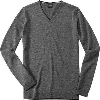 v pullover pullover slim fit merino extrafine grau meliert. Black Bedroom Furniture Sets. Home Design Ideas