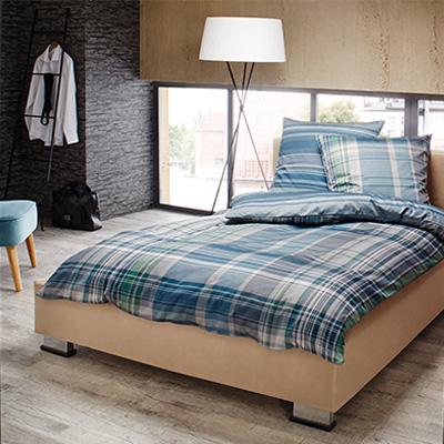 bettw sche wende cm flanell blau gr n kariert von bugatti bei. Black Bedroom Furniture Sets. Home Design Ideas
