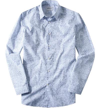hemd fitted popeline wei blau gemustert von calvin. Black Bedroom Furniture Sets. Home Design Ideas