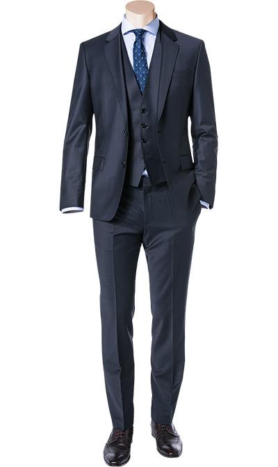 anzug mit weste slim fit schurwolle dunkelblau von hugo boss bei. Black Bedroom Furniture Sets. Home Design Ideas