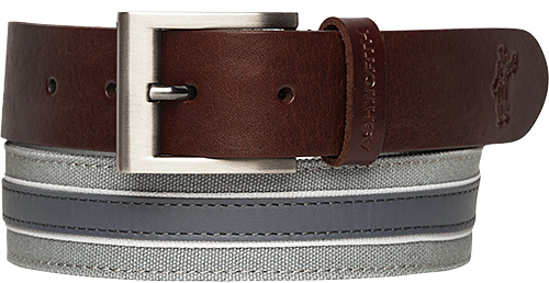 ASHWORTH Leather Cotton Belt medium grey