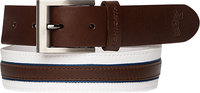 ASHWORTH Leather Cotton Belt white-brown