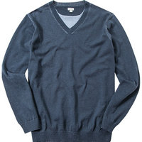 ASHWORTH Cotton Plaited V-Neck Sweater navy
