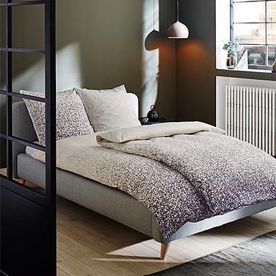 Bettwäsche 135x200 lila-beige