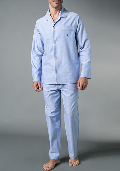pyjama baumwolle hellblau meliert von polo ralph lauren. Black Bedroom Furniture Sets. Home Design Ideas