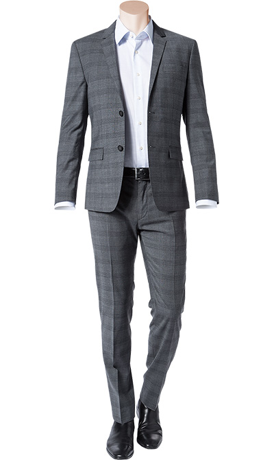 anzug fitted wolle grau kariert von calvin klein bei