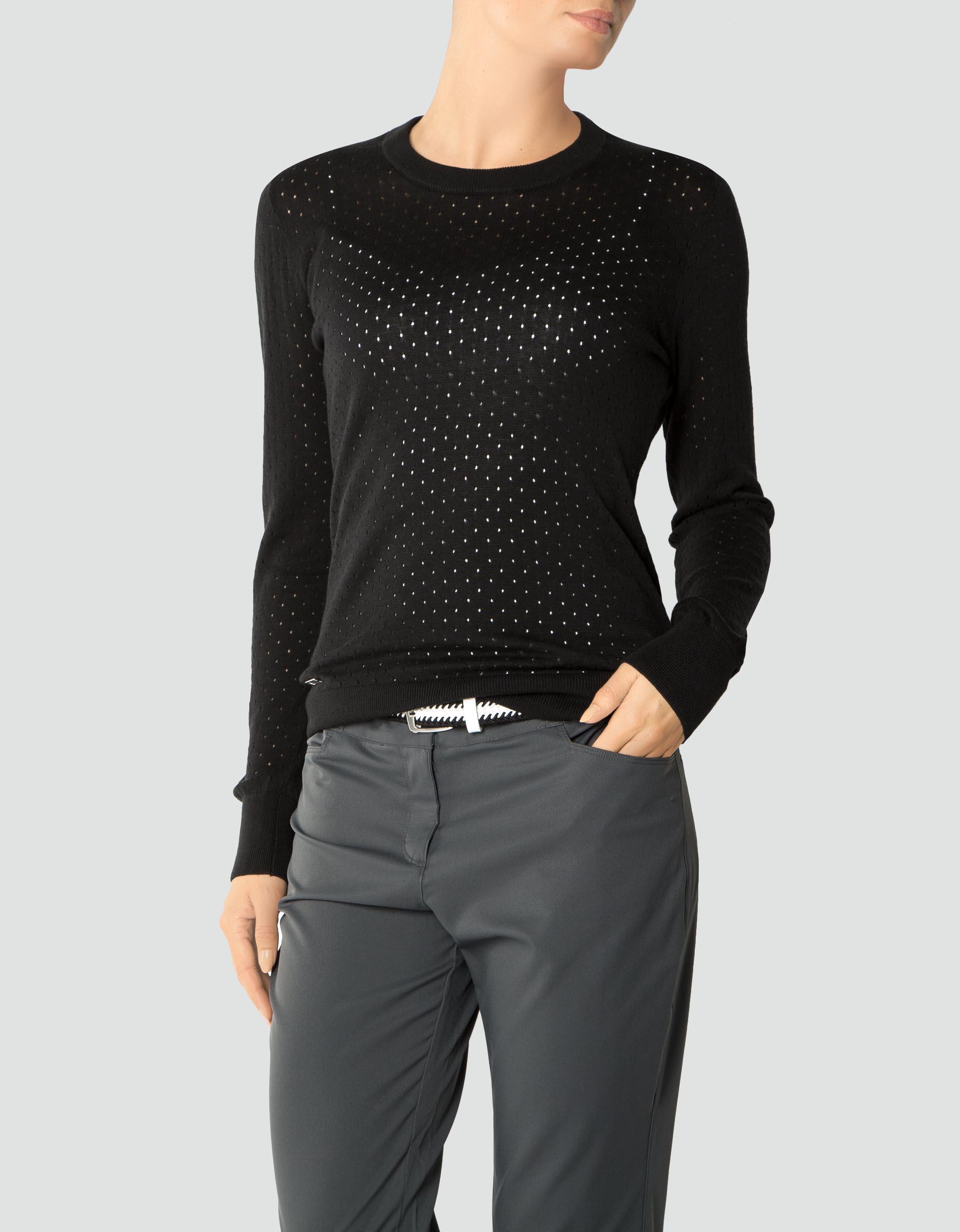 adidas golf damen pullover black mit allover lochmuster. Black Bedroom Furniture Sets. Home Design Ideas
