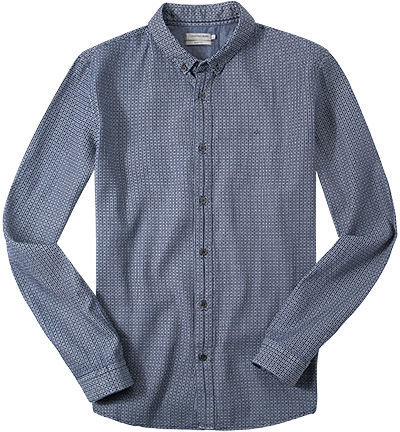 hemd slim fit twill dunkelblau hellblau gemustert von. Black Bedroom Furniture Sets. Home Design Ideas