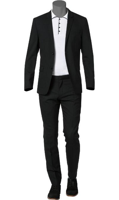 calvin klein anzug in schwarz. Black Bedroom Furniture Sets. Home Design Ideas