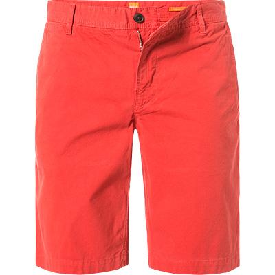 Artikel klicken und genauer betrachten! - Shorts in Regular Fit von BOSS Orange Ein Basic im modischen Schnitt - mit diesen Shorts machen Sie nichts verkehrt. Sie ist ein absolutes Kombinationstalent für alle legeren Anlässe und sollte in jedem Kleiderschrank einen festen Platz finden. Wie hier in modischer Farbgebung wirken sie besonders lässig und lassen sich ideal zu T-Shirt und Lederjacke tragen. Modell: Schino-Regular-D Details: Shorts, kurze Hose, Regular Fit, gerade geschnitten Verschluss: Zip-Fly Farbe: Rot Taschen: Schräge Eingrifftasche/n vorne, Leistentasche/n hinten Obermaterial: Twill, 100 % Baumwolle Ma e: Bei Größe W40 Seitenlänge ca. 57 cm, Beinweite ca. 58 cm Besonderheiten: Fünf Gürtelschlaufen für Gürtel mit einer maximalen Breite von ca. 4,5 cm Doppelte Schlaufe hinten mittig Zusätzliche schräge Eingrifftasche vorne rechts an der Seitennaht Label / Logo: Leder-Patch hinten rechts am Bund   im Online Shop kaufen
