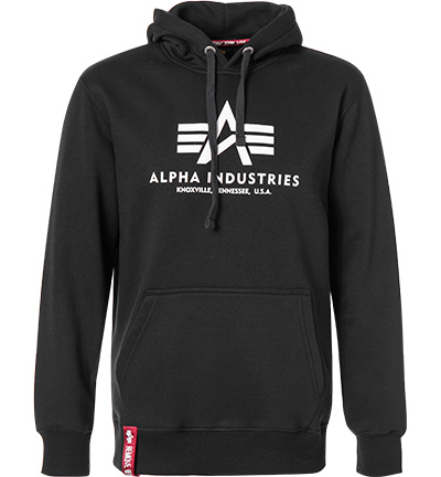 hoodie basic baumwolle schwarz von alpha industries bei. Black Bedroom Furniture Sets. Home Design Ideas