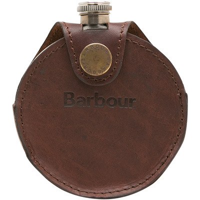 Babour Tartan Round Hip Flask brown