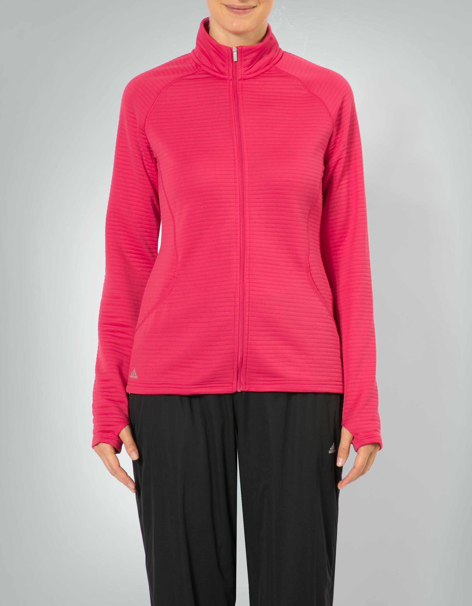 adidas Golf Damen Sweatjacke pink Jacke mit Rippenstruktur