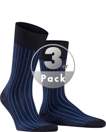 Artikel klicken und genauer betrachten! - Socken aus der Serie Shadow von FALKE - im 3er-Pack Form/Verarbeitung: Socken in modischer Form. Gerippte Baumwollsocken im Zweifarben-Effekt. Ferse und Spitze verstärkt. Perfekte Passform. Material: 95% Baumwolle, 5% Polyamid - hochwertiges Fil d´Ecosse. Farbe/Dessin: Blau gestreift.   im Online Shop kaufen