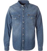 Lee Slim Western Jeanshemd blue stance