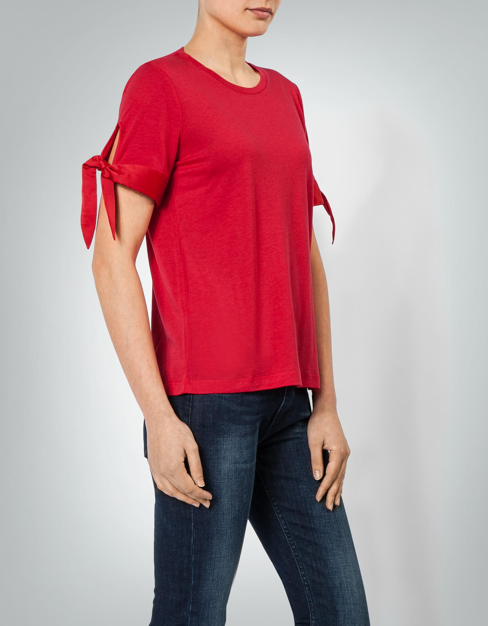 tommy hilfiger damen t shirt shirt mit satinbesatz. Black Bedroom Furniture Sets. Home Design Ideas