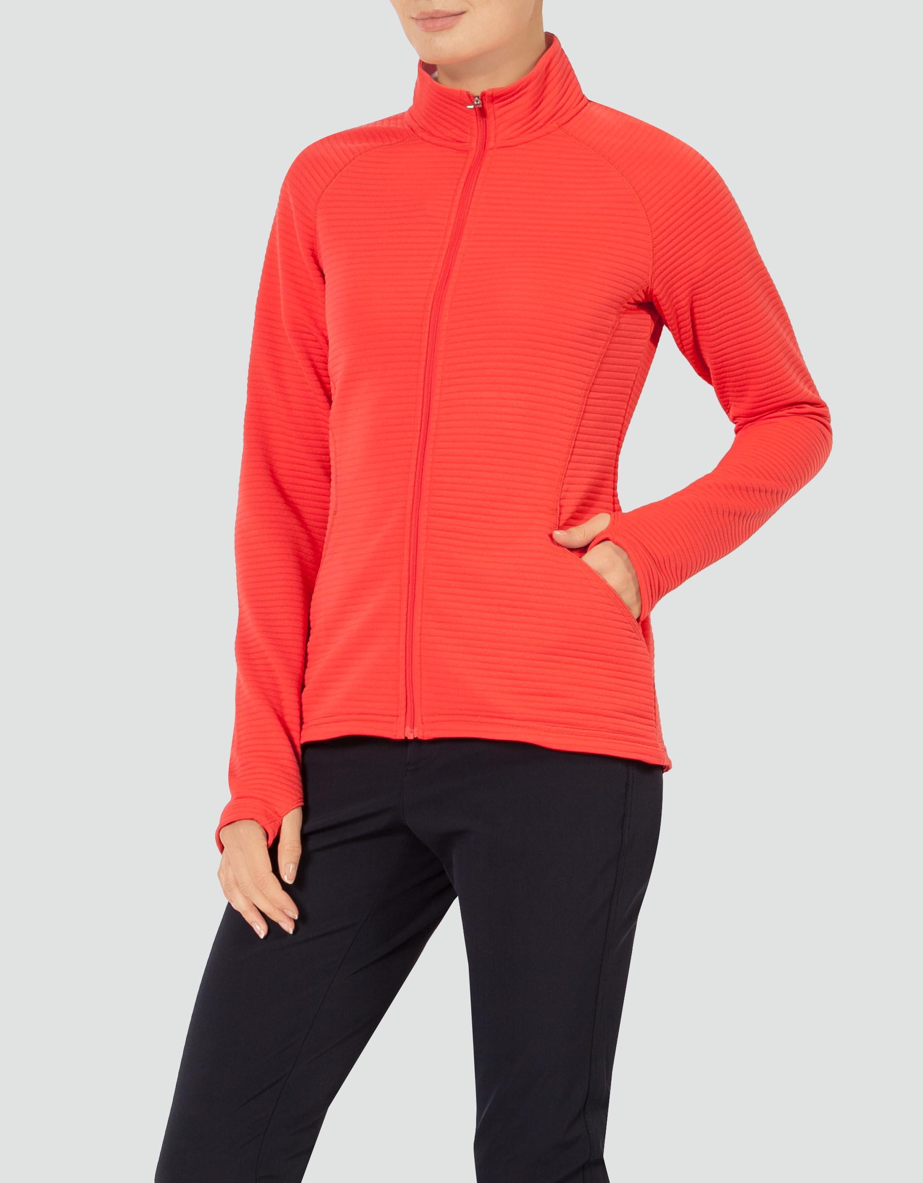 adidas Golf Damen Jacke rot mit Rippenstruktur empfohlen von