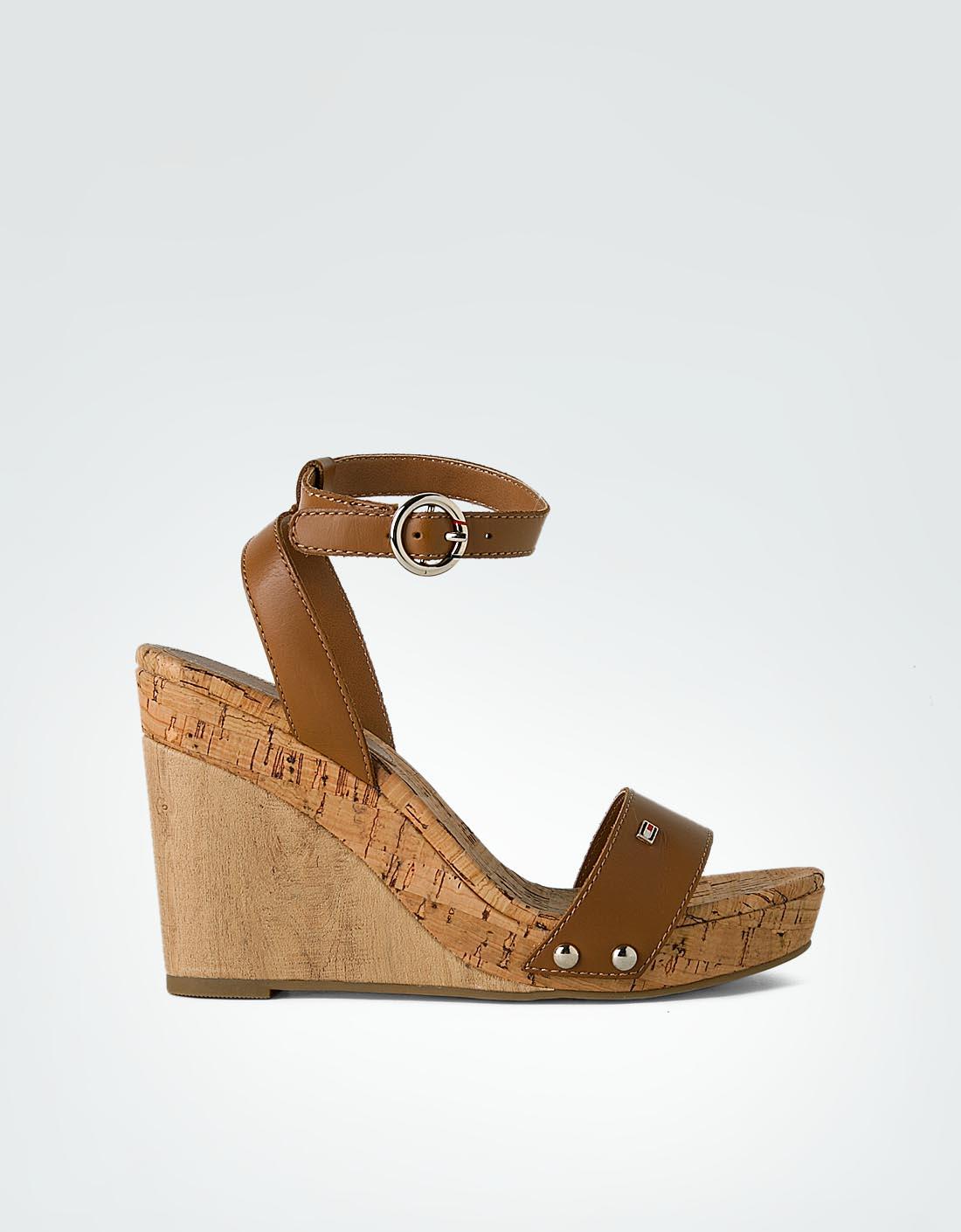 tommy hilfiger damen sandalen keilsandaletten in kork. Black Bedroom Furniture Sets. Home Design Ideas